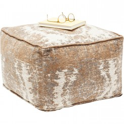 POUF MARRON ET BEIGE POP KELIM KARE DESIGN