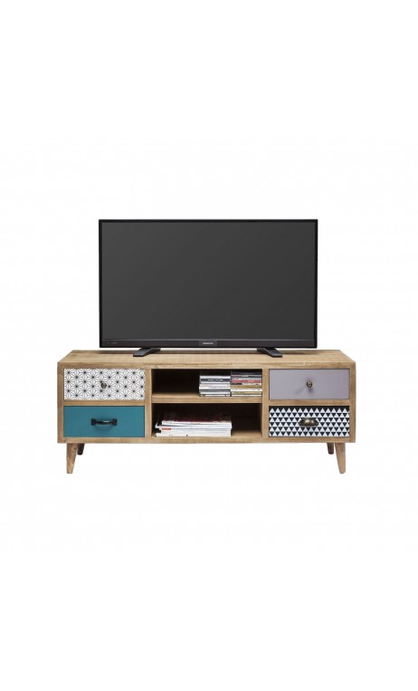 achetez votre meuble tv au style scandinave en bois patchwork capri kare design pas cher chez. Black Bedroom Furniture Sets. Home Design Ideas