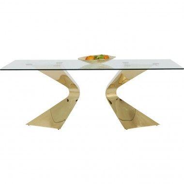 TABLE A MANGER DESIGN VERRE ET OR 200 CM GLORIA KARE DESIGN