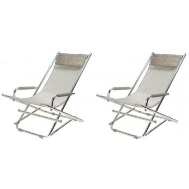 Lot de 2 Chaises longues pliantes alu gris argent