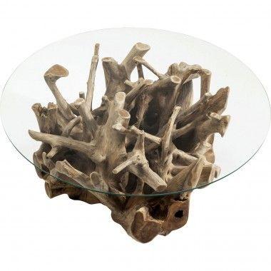Table basse plateau rond pied bois flotté Roots