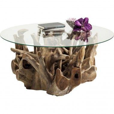 TABLE BASSE PLATEAU ROND PIED SCULPTE ROOTS KARE DESIGN
