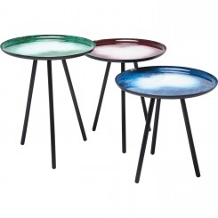 LOT DE 3 TABLES D'APPOINTS MULTICOLORES GALAXY KARE DESIGN