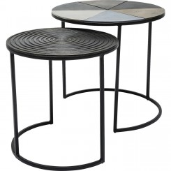 LOT DE 2 TABLES D'APPOINTS EN ACIER NOIR FETTA KARE DESIGN