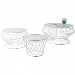 SET DE 3 TABLES BASSES BLANCHES EN ACIER WIRE KARE DESIGN