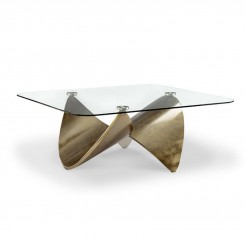 TABLE BASSE PLATEAU CARRE ET PIED METAL OR KNOT