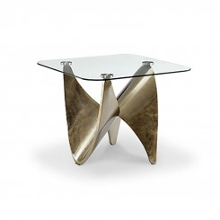 TABLE D'APPOINT PLATEAU CARRE ET PIED METAL OR KNOT