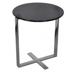TABLE D'APPOINT DESIGN VERRE ET CHROME LOFT