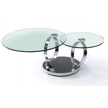 TABLE BASSE 2 PLATEAUX EN VERRE ET PIEDS CHROMES INFINITY