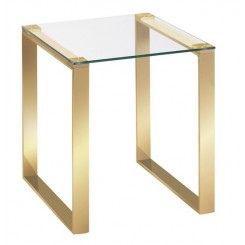 TABLE D'APPOINT PLATEAU VERRE ET PIED METAL OR BREDA