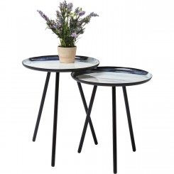 SET DE 2 TABLES D'APPOINTS PLATEAUX MULTICOLORES MANCHA KARE DESIGN
