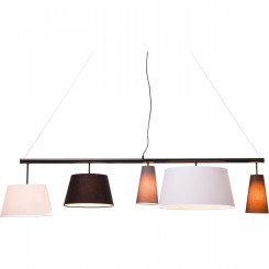SUSPENSION 5 ABAT-JOUR BLANC MARRON BEIGE PARECCHI KARE DESIGN
