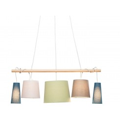 SUSPENSION 5 ABAT-JOUR MULTICOLORES NORDIC PARECCHI KARE DESIGN