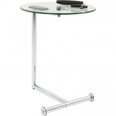 TABLE D'APPOINT EN VERRE ET CHROME EASY LIVING KARE DESIGN
