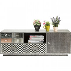 MEUBLE TV PATCHWORK ARGENTE 140 CM CHALET KARE DESIGN