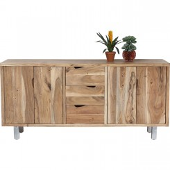BUFFET 4 PORTES 3 TIROIRS EN BOIS ET CHROME NATURE KARE DESIGN