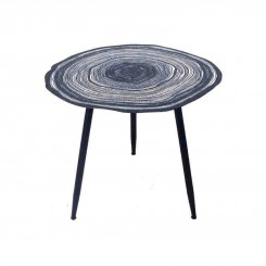 TABLE D'APPOINT GUERIDON METAL BLANC ET BLEU ORGANIQUE
