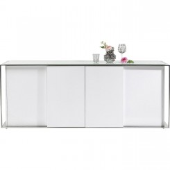 BUFFET DESIGN LAQUE ET CHROME 4 PORTES VANITY KARE DESIGN