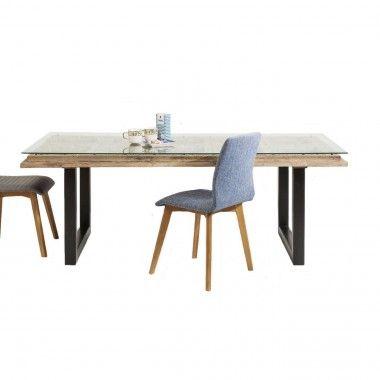 TABLE A MANGER 200 CM BOIS SCULPTE ET VERRE KARE DESIGN