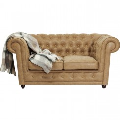CANAPE 2 PLACES CHESTERFIELD CAPITONNE EFFET CUIR OXFORD KARE DESIGN