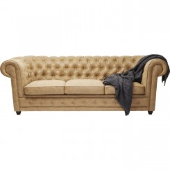 CANAPE 3 PLACES CHESTERFIELD CAPITONNE EFFET CUIR OXFORD KARE DESIGN