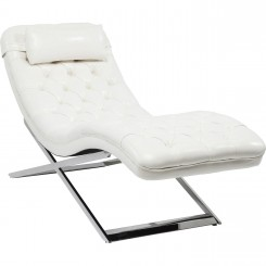 CHAISE LONGUE CAPITONNEE BLANCHE ET CHROME TALK ABOUT KARE DESIGN