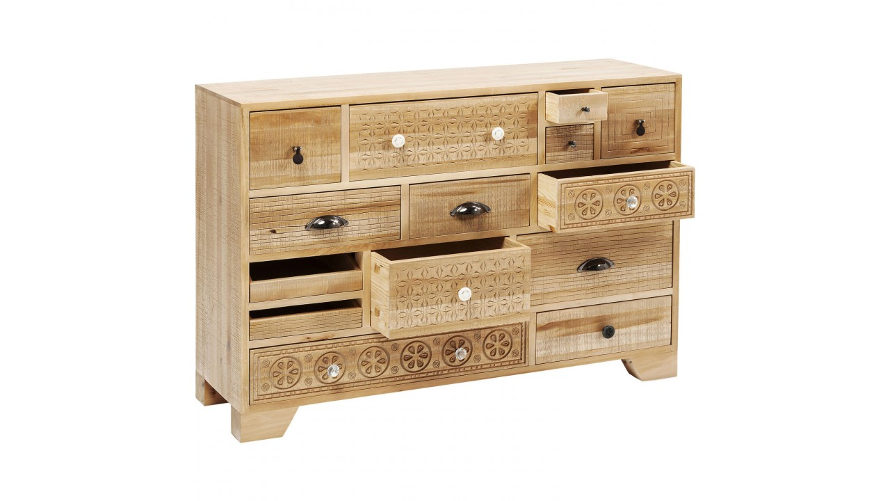 achetez votre commode 14 tiroirs en bois clair ethnique. Black Bedroom Furniture Sets. Home Design Ideas