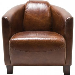 FAUTEUIL CLUB CUIR MARRON CIGARE LOUNGE KARE DESIGN