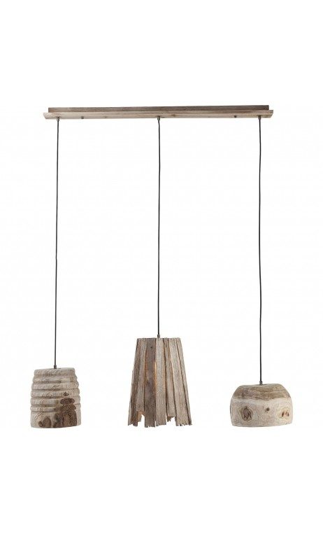 SUSPENSION 3 ABAT-JOUR EN BOIS JUNGLE KARE DESIGN