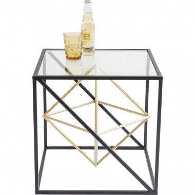 TABLE D'APPOINT 45 X 45 CM ACIER NOIR ET OR PRISMA KARE DESIGN