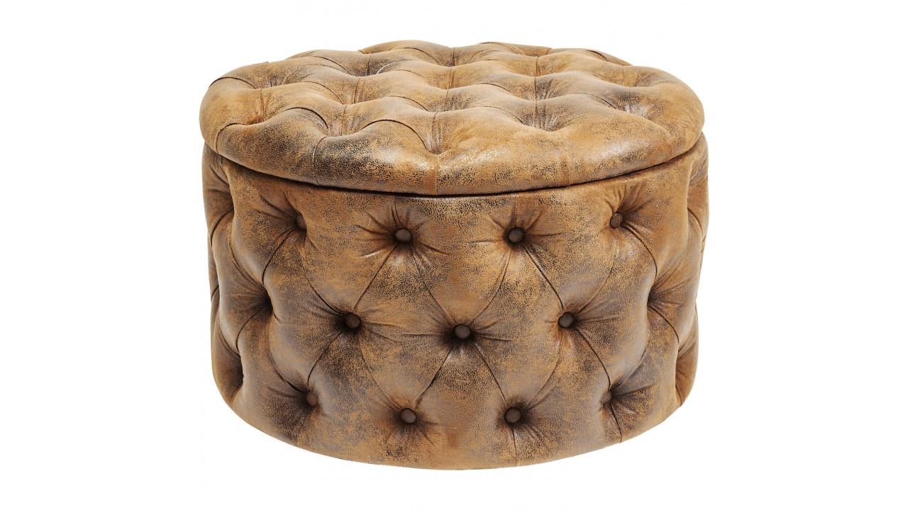 achetez votre pouf capitonn effet cuirs vintage marron. Black Bedroom Furniture Sets. Home Design Ideas