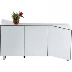 BUFFET DESIGN LAQUE BLANC VISION D'OPTIQUE TRIANGLE KARE DESIGN