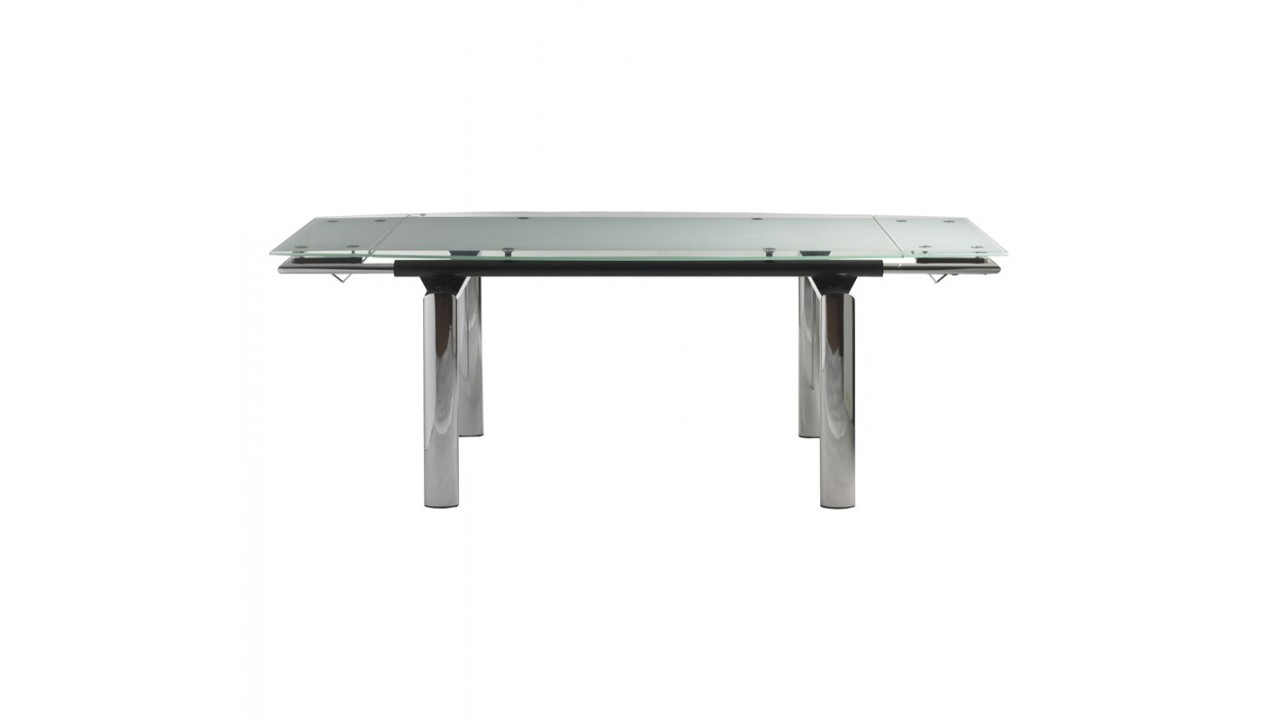Achetez votre table manger design en verre et chrome pop for Table a manger en verre