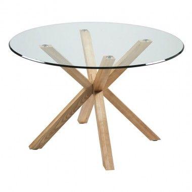 TABLE A MANGER PLATEAU ROND 120 CM VERRE ET BOIS IDOL CAMINO A CASA