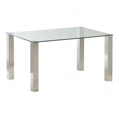 TABLE A MANGER 140 CM VERRE ET CHROME TOWER CAMINO A CASA