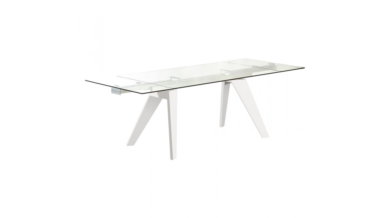 Table a manger verre blanc maison design for Table de salle a manger 240 cm