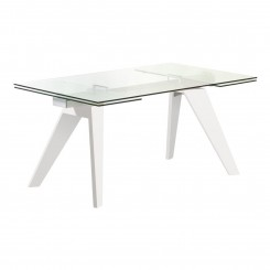 TABLE A MANGER DESIGN 160-210 CM BOIS BLANC ET VERRE MOUNTAIN CAMINO A CASA