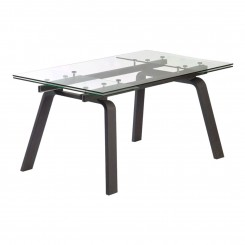 TABLE A MANGER 160-240 CM BOIS NOIR ET CHROME MOON CAMINO A CASA