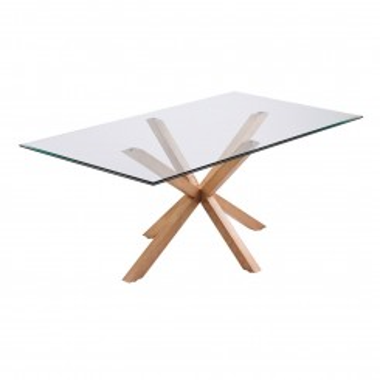 TABLE A MANGER RECTANGULAIRE 180 CM VERRE ET BOIS IDOL CAMINO A CASA