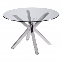 TABLE A MANGER PLATEAU ROND 120 CM VERRE ET CHROME IDOL CAMINO A CASA