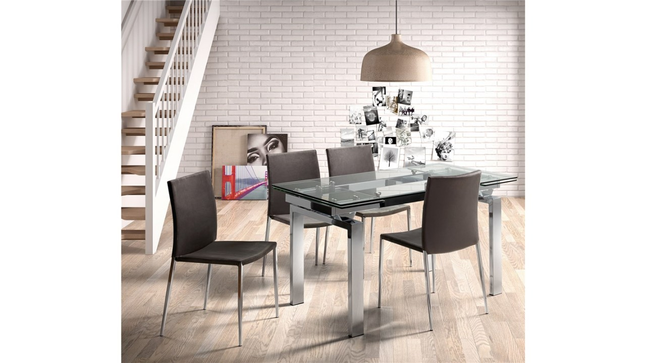 achetez votre table manger en verre et chrome 140 200. Black Bedroom Furniture Sets. Home Design Ideas