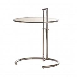 TABLE D'APPOINT DESIGN PLATEAU AJUSTABLE VERRE MONOCLE CAMINO A CASA