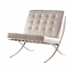 FAUTEUIL DESIGN CAPITONNE BLANC ET CHROME BOSTON CAMINO A CASA