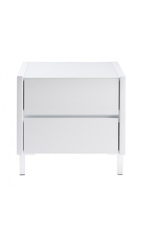 Achetez votre table de chevet design laqu blanc boston - Table de chevet blanc ...