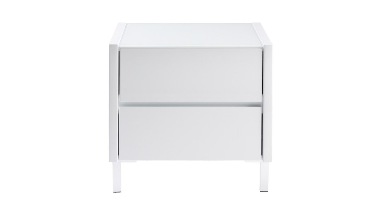 Achetez votre table de chevet design laqu blanc boston for Table de chevet blanc laque pas cher