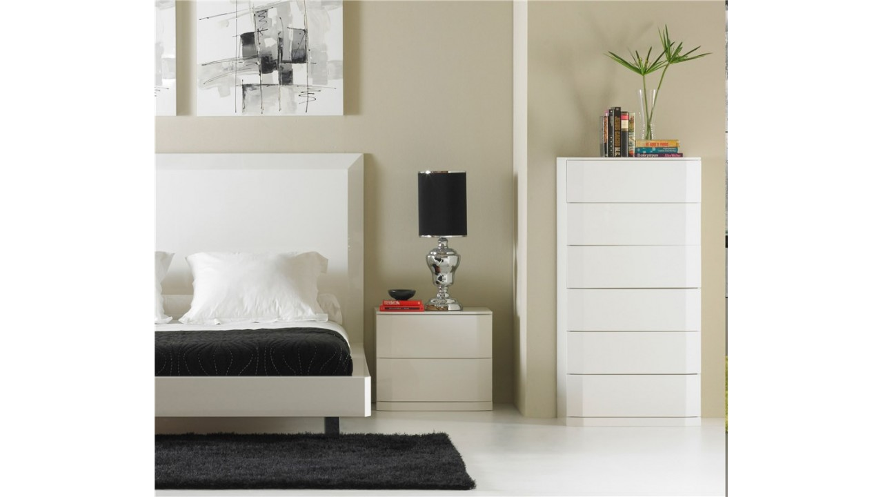 achetez votre table de chevet laqu blanc manhattan pas cher sur loft. Black Bedroom Furniture Sets. Home Design Ideas