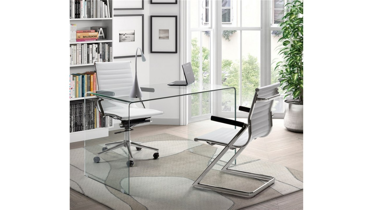 achetez votre bureau design verre 125 cm transparente pas cher sur loft. Black Bedroom Furniture Sets. Home Design Ideas