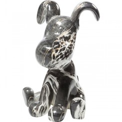 CHIEN FIGURINE DECORATIVE GRIS ET BLANC DOG KARE DESIGN