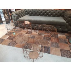 Set de 3 tables basses laiton et verre WIRE GRID