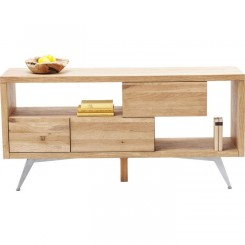 BUFFET BOIS NATUREL ET CHROME 3 TIROIRS CUBE KARE DESIGN